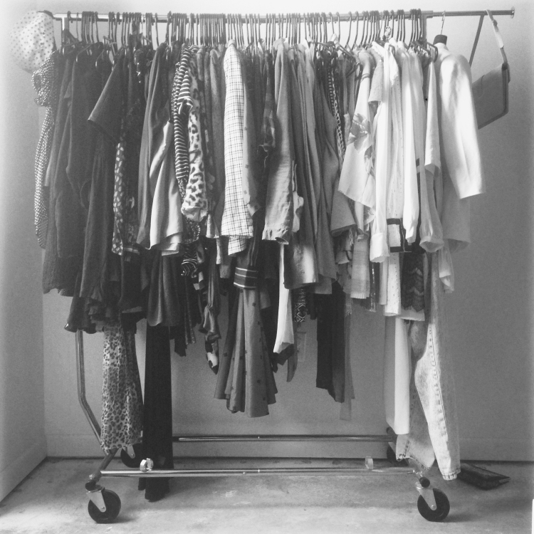 clothing on rack